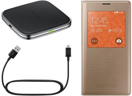 Samsung Induktives Lade-Set (Viewcover+ Ladepad) für S5, Gold