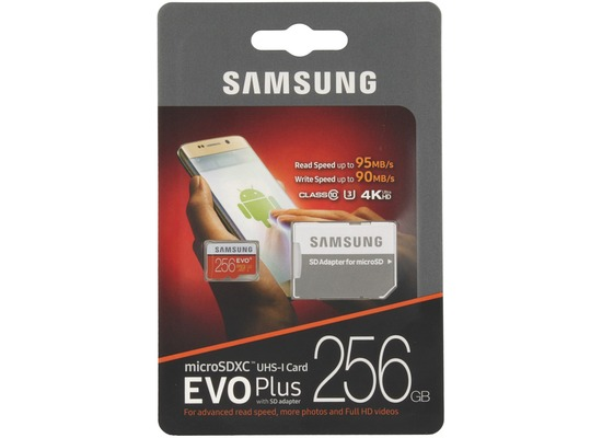 Samsung microSDXC Karte 256GB EVO Plus UHS-1 inkl. SD Adapter
