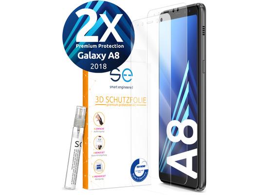 smart engineered [2x] 3D Schutzfolie Samsung Galaxy A8 Transparent (Klar) Front (Display) im SET inkl. Nano-Versiegelung