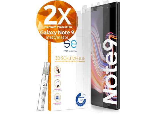 smart engineered [2x] 3D Schutzfolie Samsung Galaxy Note 9 Matt (entspiegelt) Front (Display) im SET