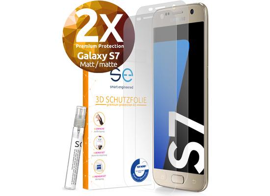 smart engineered [2x] 3D Schutzfolie Samsung Galaxy S7 Matt (entspiegelt) Front (Display) im SET inkl. Nano-Versiegelung