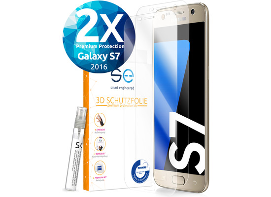 smart engineered [2x] 3D Schutzfolie Samsung Galaxy S7 Transparent (Klar) Front (Display) im SET inkl. Nano-Versiegelung