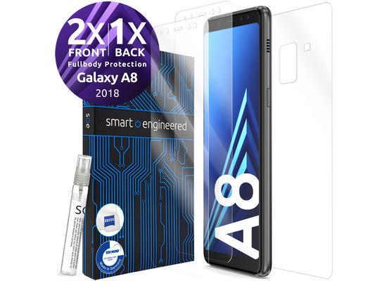 smart engineered 3D Schutzfolien für Samsung Galaxy A8, 2x Premium HD Displayschutzfolien, 1x Folie Rückseite [FULLBODY SET]