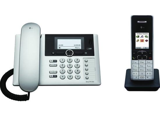 Telekom Sinus PA 503i mit Schnurlostelefon, schwarz-silber
