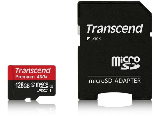Transcend microSDXC Class 10 UHS-I 400x, 128GB + SD Adapter