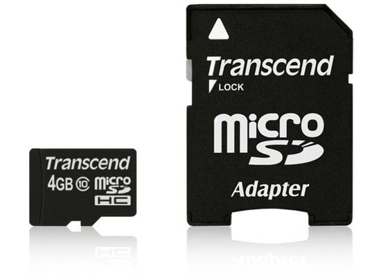 Transcend microSDHC Class 10, 4GB + SD-Adapter