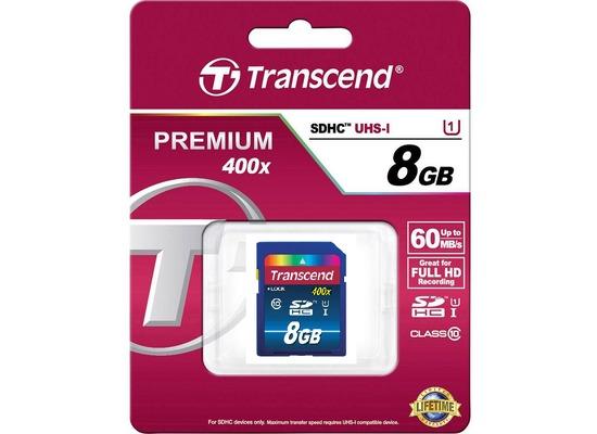 Transcend 8GB SDHC, Class10, UHS-I 400x Premium