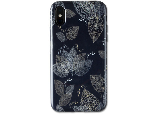 Wilma Midnight Shine Leaf Lines for iPhone X/Xs black