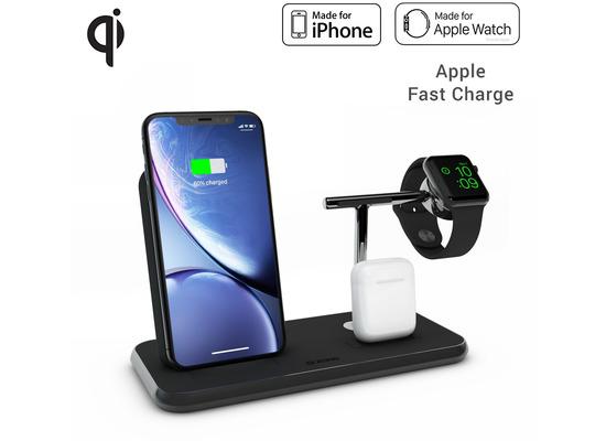 ZENS Aluminium Stand + Apple Watch + Dock, Qi, schwarz, ZEDC07B/00